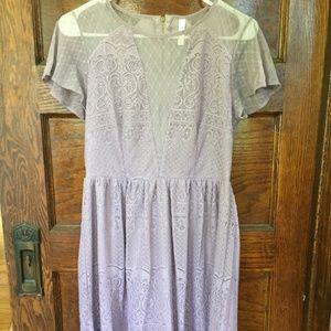 Lilac and Lace Fit and Flare Dress